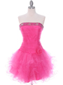 415 Hot Pink Beaded Short Prom Dress - Hot Pink, Front View Thumbnail