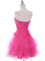 415 Hot Pink Beaded Short Prom Dress - Hot Pink, Back View Thumbnail