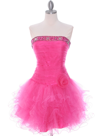 415 Hot Pink Beaded Short Prom Dress - Hot Pink, Front View Medium