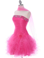 415 Hot Pink Beaded Short Prom Dress - Hot Pink, Alt View Thumbnail