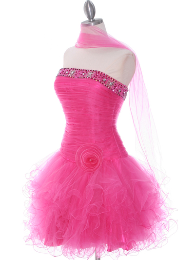 415 Hot Pink Beaded Short Prom Dress - Hot Pink, Alt View Medium