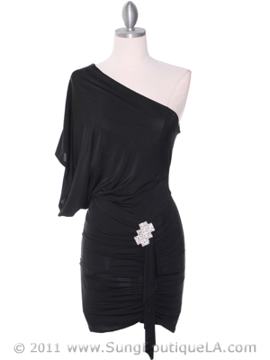 4117D Black One Shoulder Party Dress with Rhinestone Buckle, Black