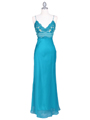 4268 Teal Illusion Evening Gown - Teal, Front View Thumbnail