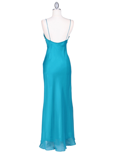 4268 Teal Illusion Evening Gown - Teal, Back View Medium