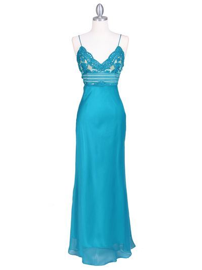 4268 Teal Illusion Evening Gown - Teal, Front View Medium
