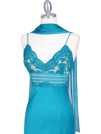 4268 Teal Illusion Evening Gown - Teal, Alt View Medium