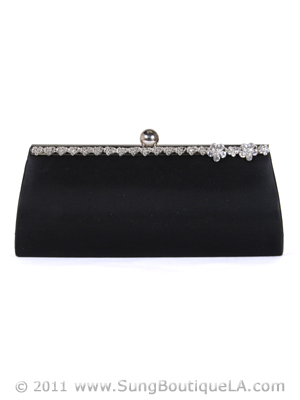 43105 Black Evening Bag with Rhinestone Frame, Black