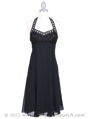 4351 Black Halter Cocktail Dress, Black