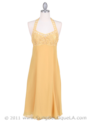 4351 Yellow Halter Cocktail Dress, Yellow