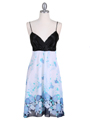 4419 Black Blue Chiffon Print Dress - Black Blue, Front View Thumbnail