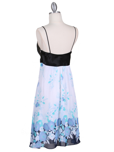 4419 Black Blue Chiffon Print Dress - Black Blue, Back View Medium
