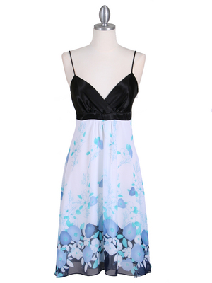 4419 Black Blue Chiffon Print Dress, Black Blue