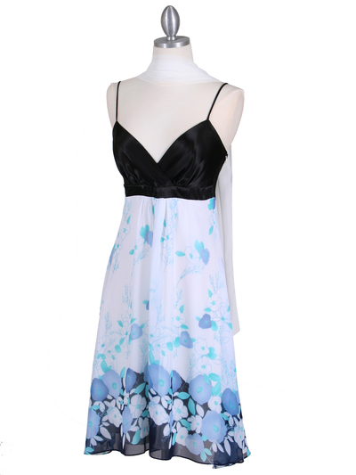 4419 Black Blue Chiffon Print Dress - Black Blue, Alt View Medium
