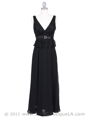 4475 Black Evening Dress with Rhinestone Buckle, Black
