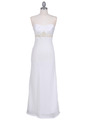 White Satin Beaded Evening Dress