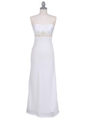 4480 White Satin Beaded Evening Dress, White
