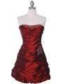4509 Burgundy Taffeta Cocktail Dress - Burgundy, Front View Thumbnail
