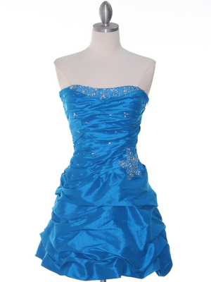 Dark Turquoise Taffeta Cocktail Dress - Front Image