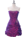 4509 Purple Taffeta Cocktail Dress - Purple, Front View Thumbnail
