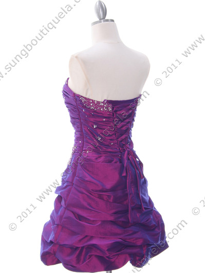 4509 Purple Taffeta Cocktail Dress - Purple, Back View Medium