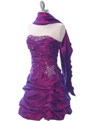4509 Purple Taffeta Cocktail Dress - Purple, Alt View Thumbnail
