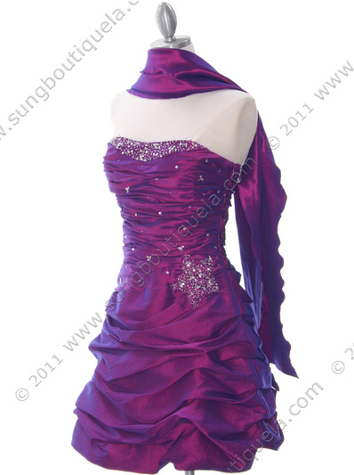 4509 Purple Taffeta Cocktail Dress - Purple, Alt View Medium