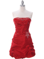 4509 Red Taffeta Cocktail Dress - Red, Front View Thumbnail