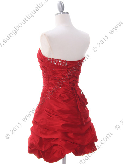 4509 Red Taffeta Cocktail Dress - Red, Back View Medium