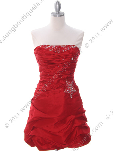 4509 Red Taffeta Cocktail Dress - Red, Front View Medium