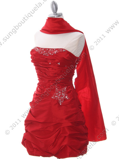 4509 Red Taffeta Cocktail Dress - Red, Alt View Medium