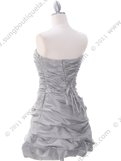 4509 Silver Taffeta Cocktail Dress - Silver, Back View Medium