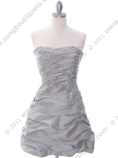 4509 Silver Taffeta Cocktail Dress - Silver, Front View Medium