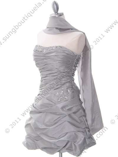 4509 Silver Taffeta Cocktail Dress - Silver, Alt View Medium