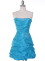 Turquoise Taffeta Cocktail Dress - Front Image