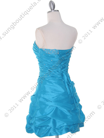 4509 Turquoise Taffeta Cocktail Dress - Turquoise, Back View Medium