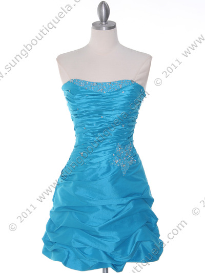 4509 Turquoise Taffeta Cocktail Dress - Turquoise, Front View Medium