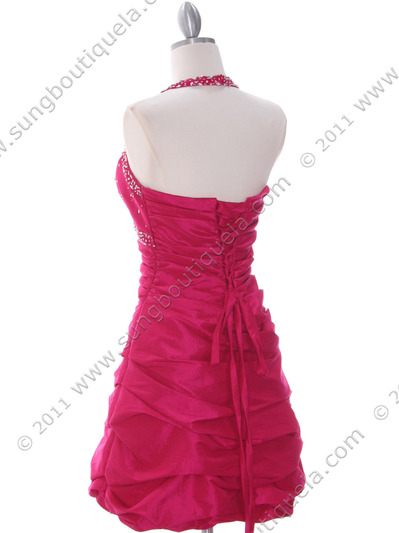 4512 Fuschia Tafetta Beaded Homecoming Dress - Fuschia, Back View Medium