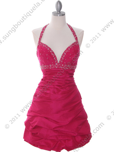 4512 Fuschia Tafetta Beaded Homecoming Dress - Fuschia, Front View Medium