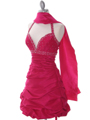 4512 Fuschia Tafetta Beaded Homecoming Dress - Fuschia, Alt View Thumbnail