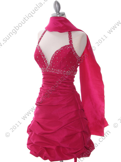 4512 Fuschia Tafetta Beaded Homecoming Dress - Fuschia, Alt View Medium