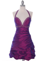 4512 Purple Tafetta Beaded Cocktail Dress - Purple, Front View Thumbnail