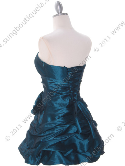 4513 Jade Taffeta Homecoming Dress - Jade, Back View Medium