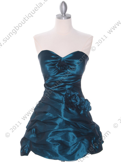 4513 Jade Taffeta Homecoming Dress - Jade, Front View Medium