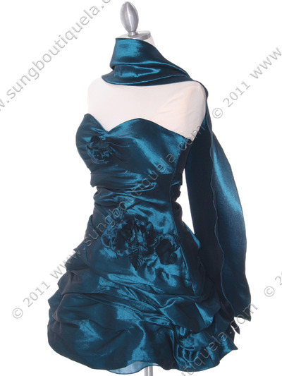 4513 Jade Taffeta Homecoming Dress - Jade, Alt View Medium