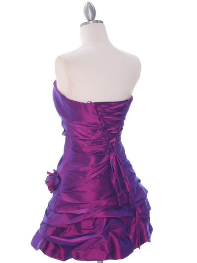 4513 Purple Taffeta Homecoming Dress - Purple, Back View Medium