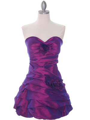 Purple Taffeta Homecoming Dress - Front Image