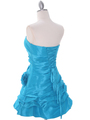 4513 Turquoise Taffeta Homecoming Dress - Turquoise, Back View Thumbnail
