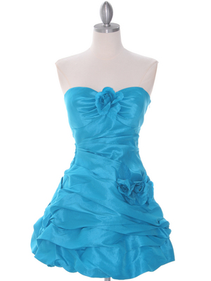 Turquoise Taffeta Homecoming Dress - Front Image