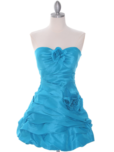 4513 Turquoise Taffeta Homecoming Dress - Turquoise, Front View Medium