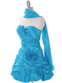 Turquoise Taffeta Homecoming Dress - Alt Image